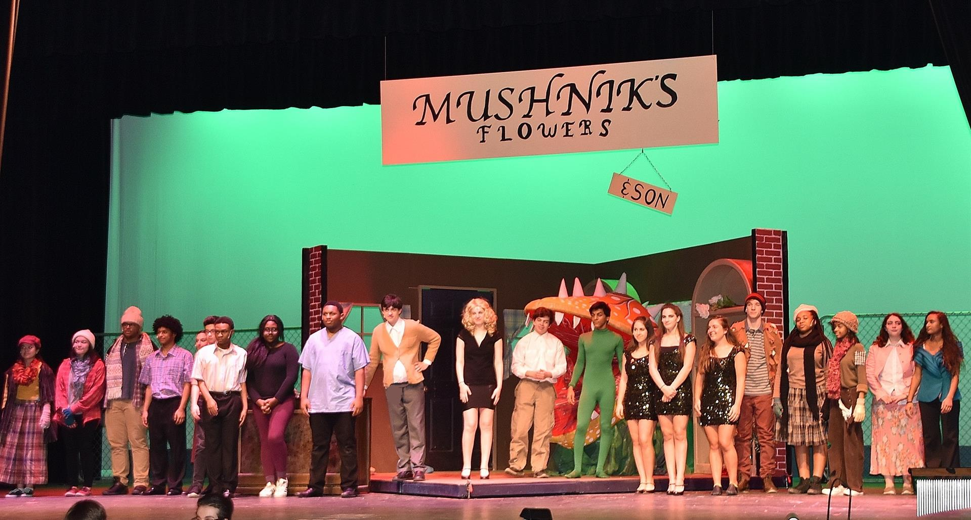Cast of Little Shop on OHS Stage