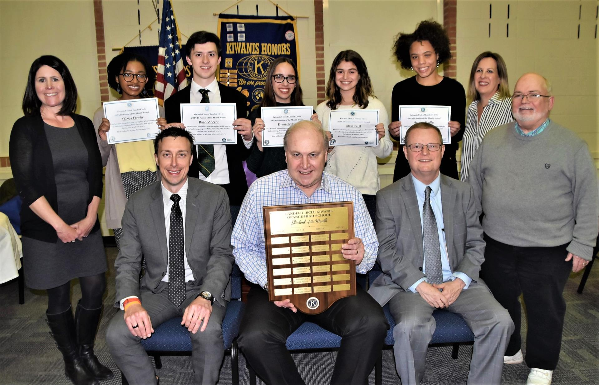 Kiwanis student winners with Kiwanis Members and Orange Schools staff