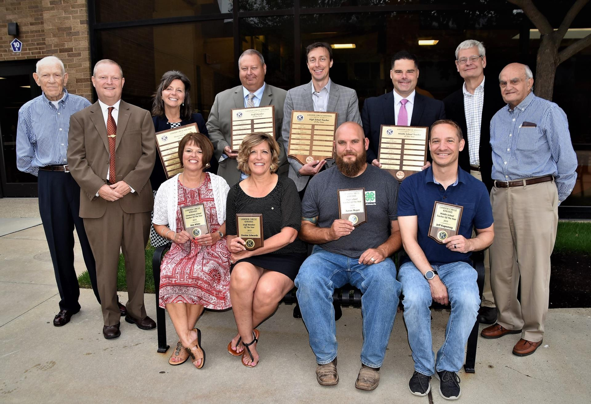 Administrators and Kiwanis Members Surround 2019 Award Winners