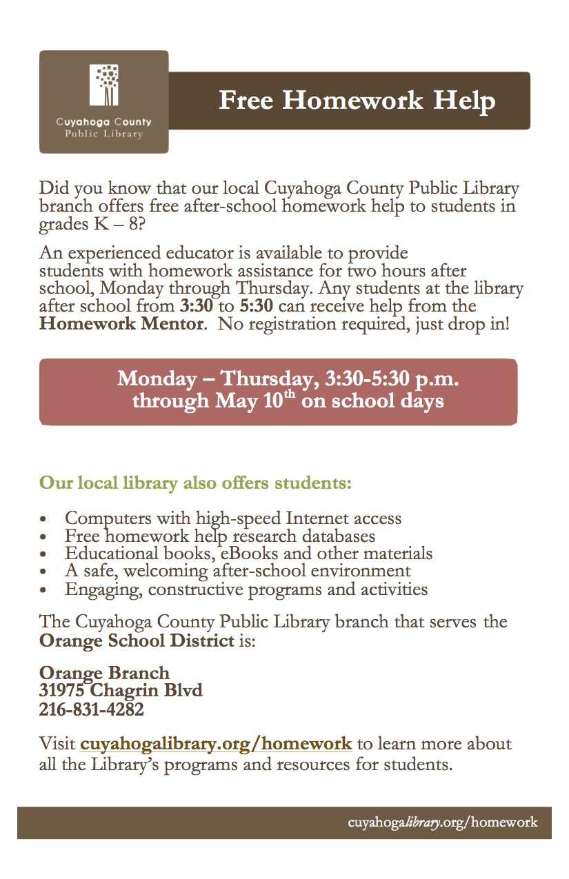 Orange Branch Library Homework Help - click flyer