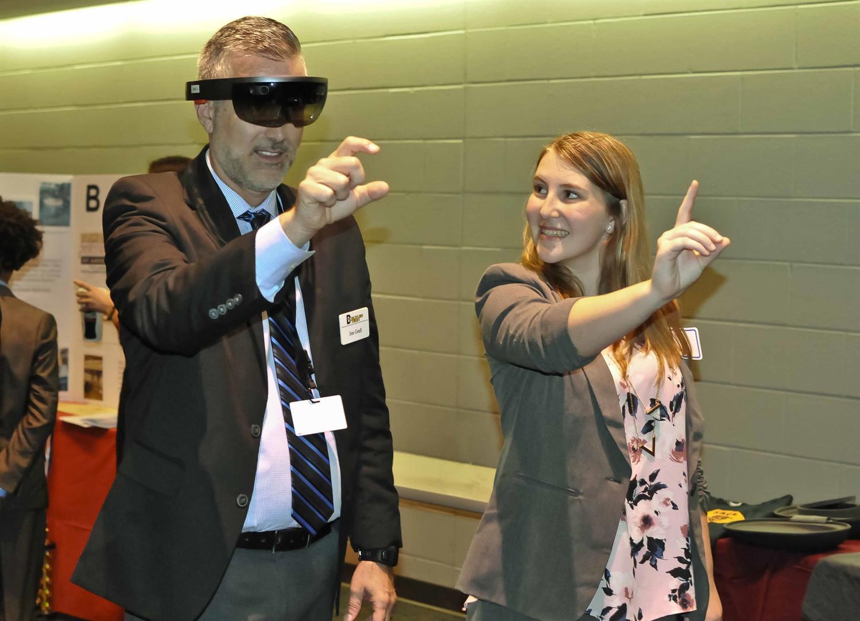 Student demonstrates Microsoft HoloLens