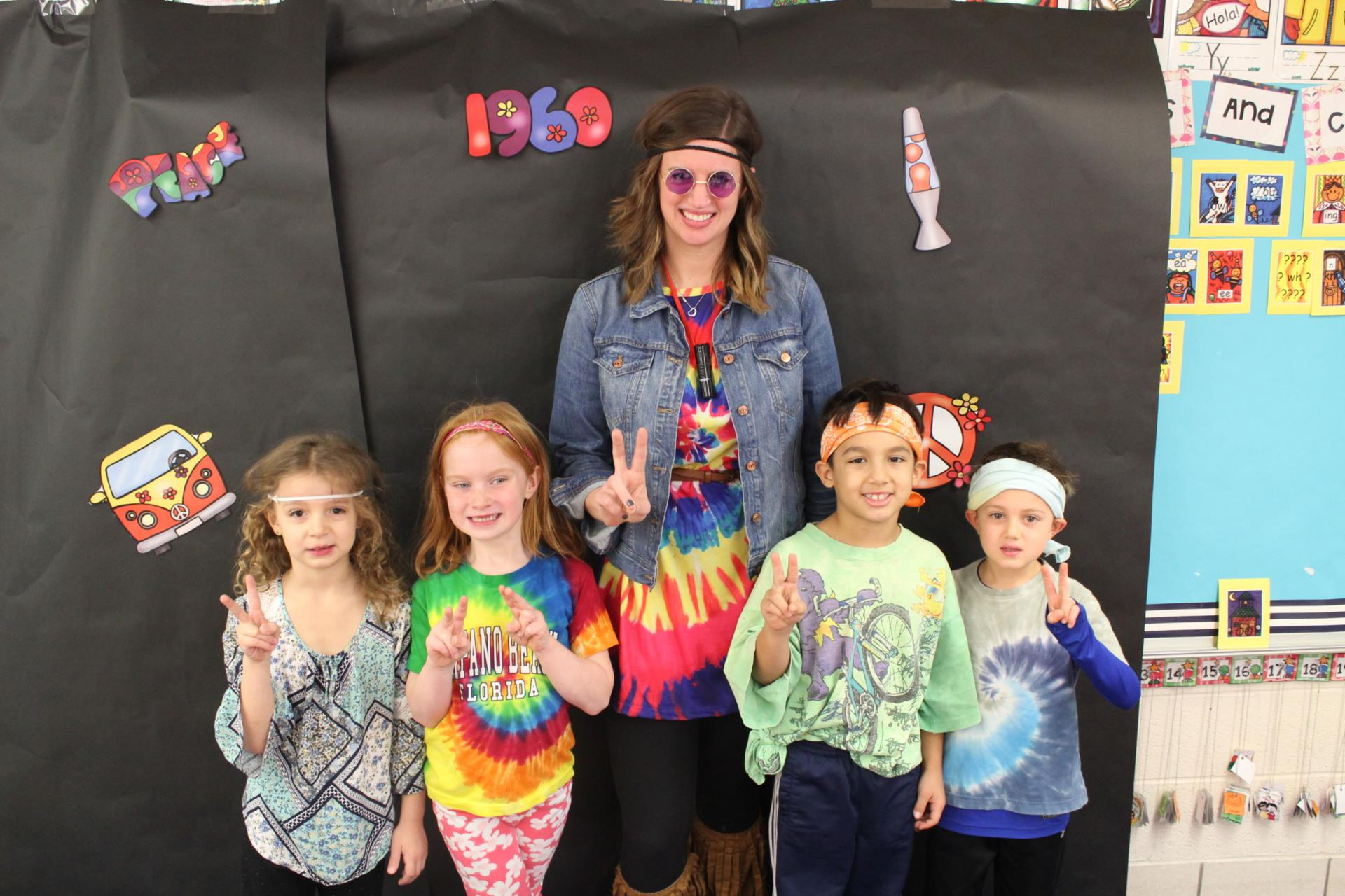 Hilton first grade students and staff celebrate Sixties Day