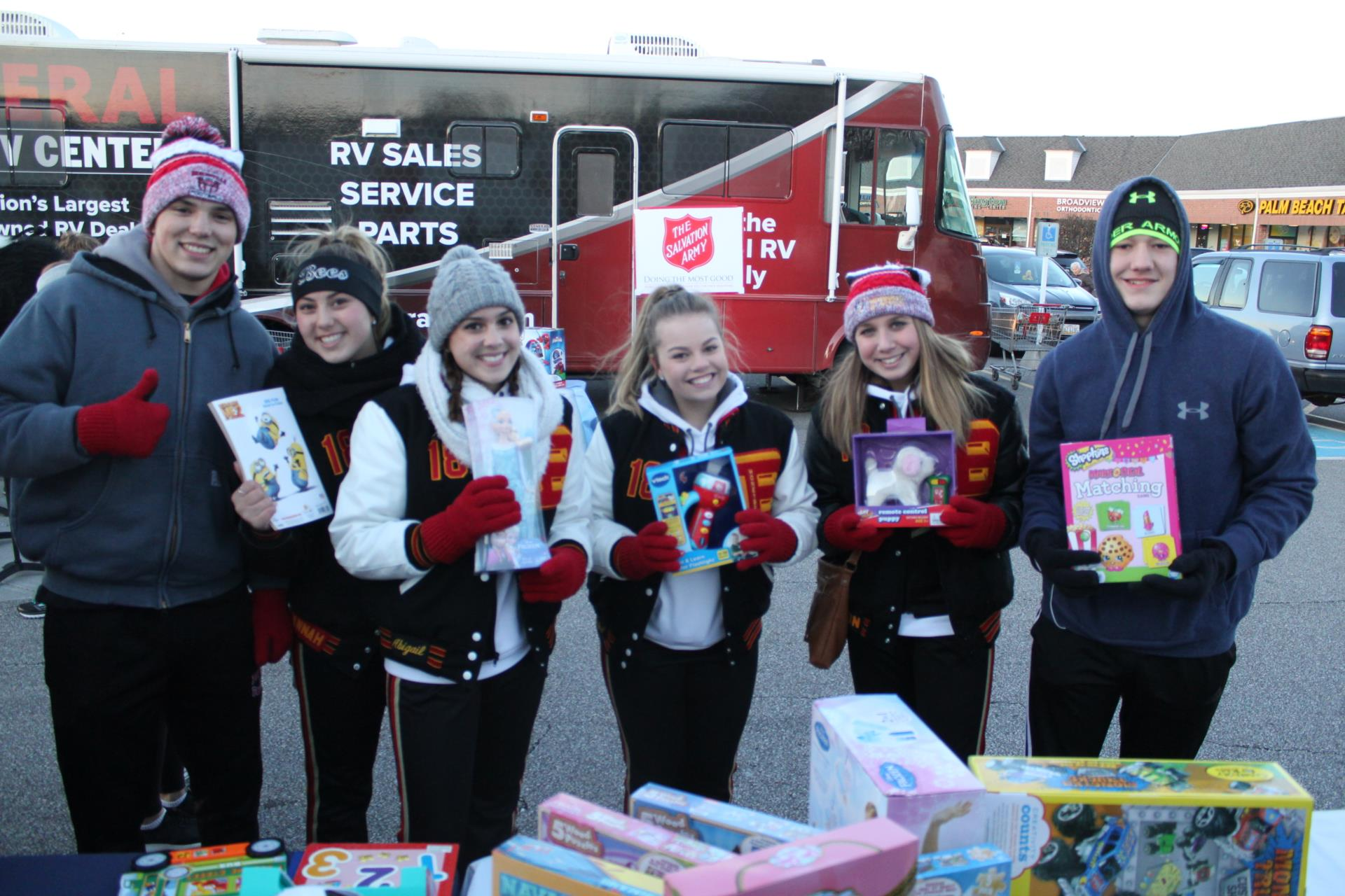 BBHHS students holding donated items