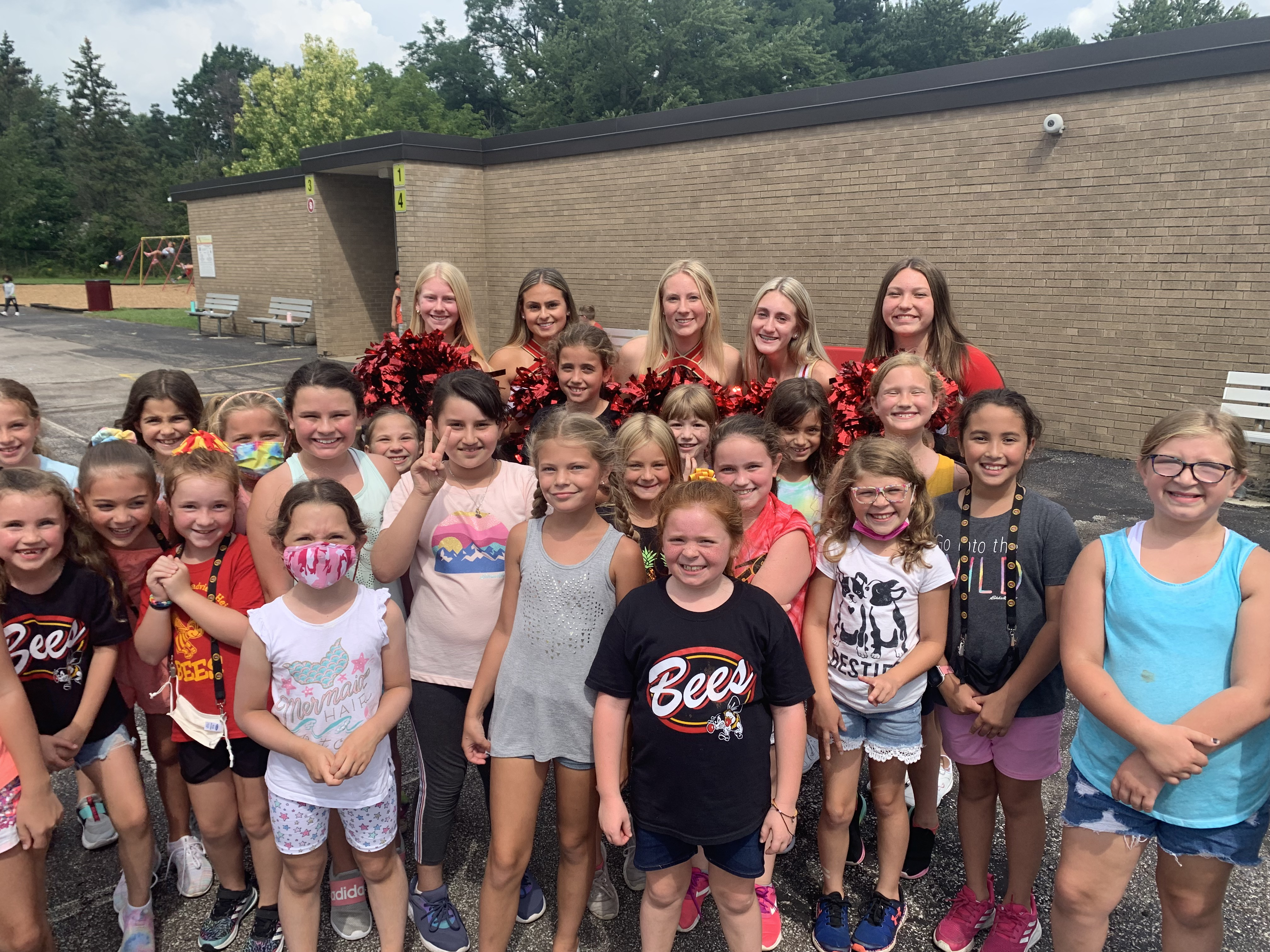 Hilton students with BBHHS senior cheerleaders