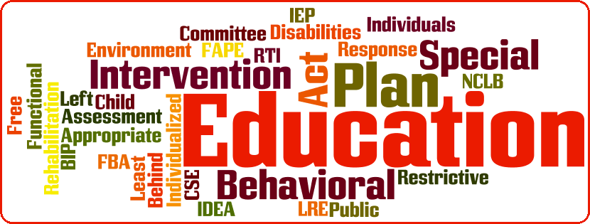 Word Cloud banner for Education