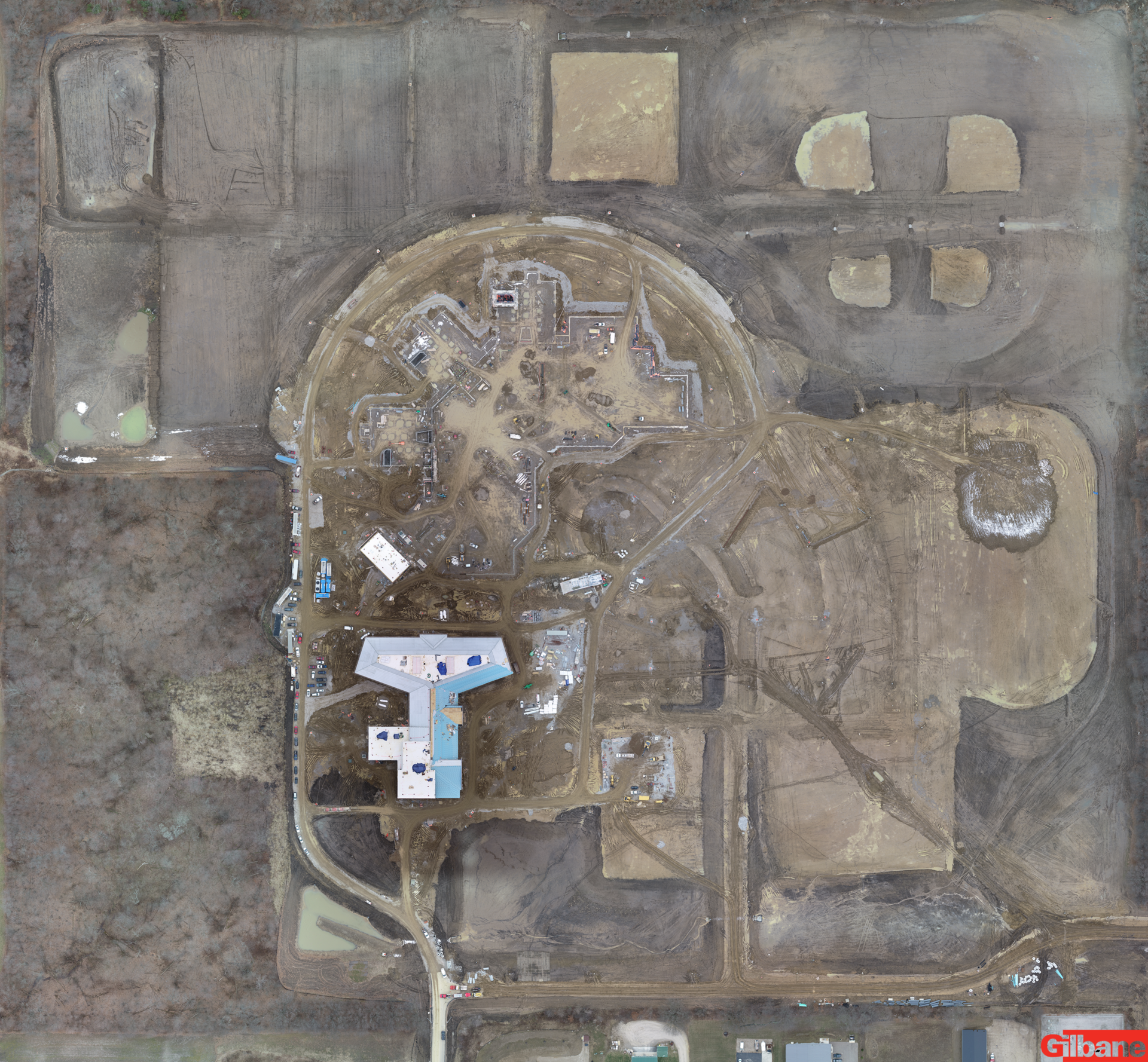 Arial view of construction site January 29, 2020