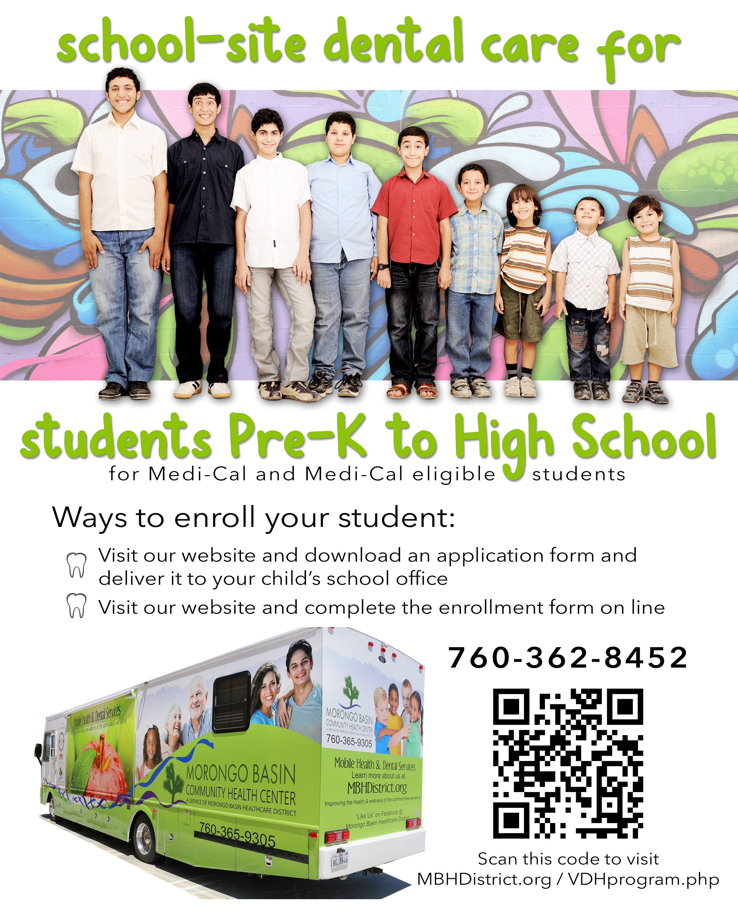 School-Site Dental Care for Medi-Cal eligible students. Click here to enroll!