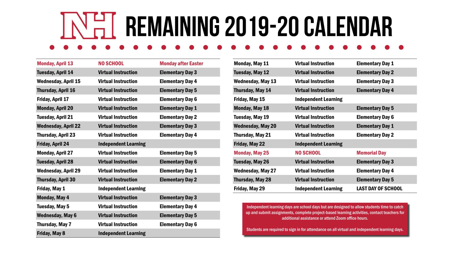 Graphic showing the remaining dates of the 2019-20 school year