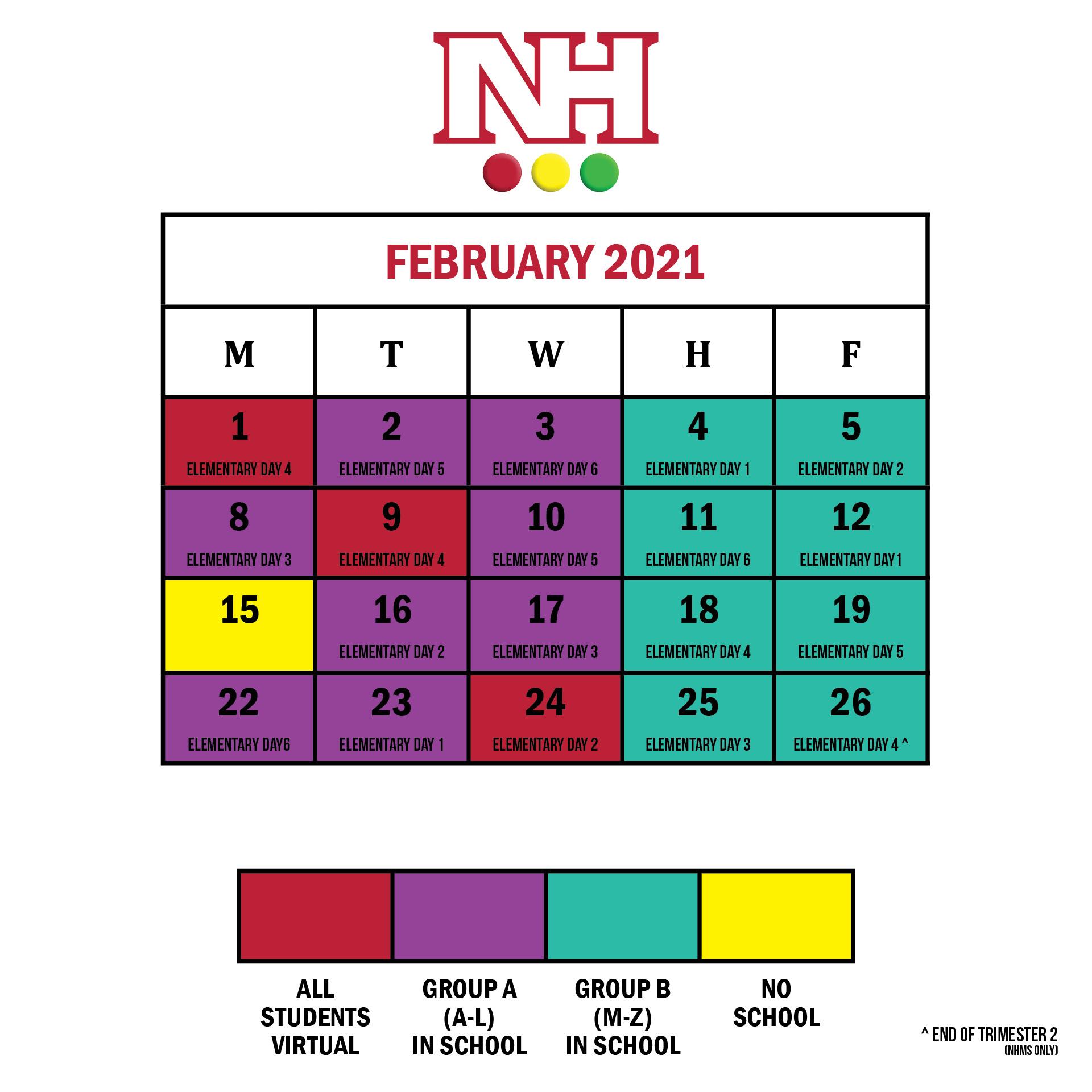 Revised February 2021 calendar