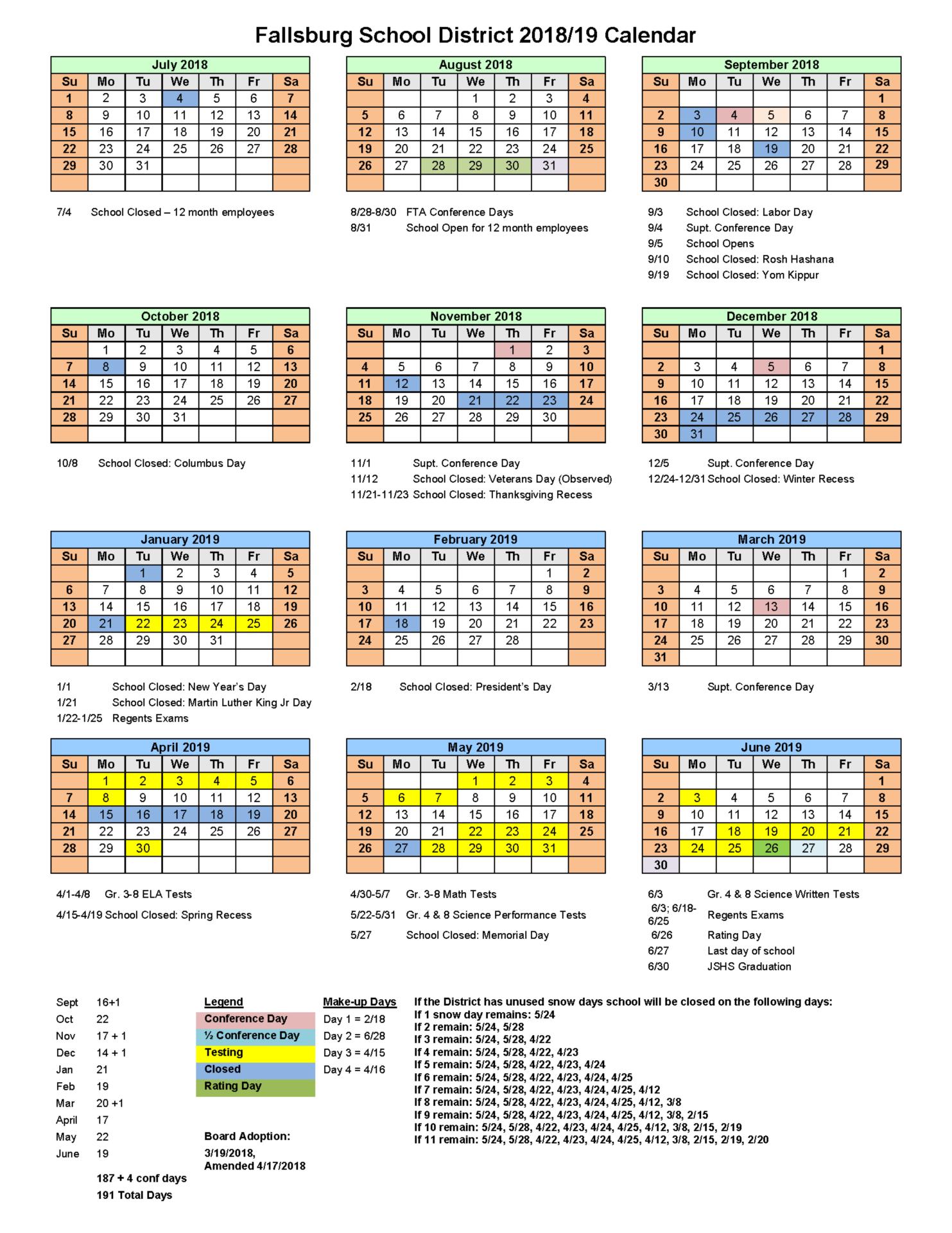 Academic Calendar 18-19