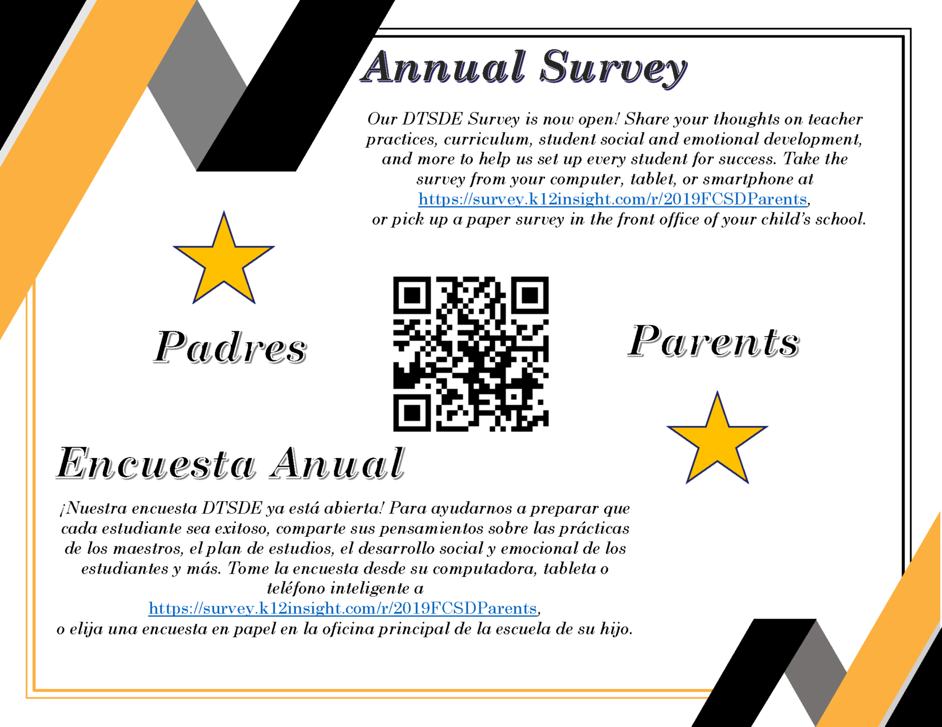 Flyer and QR code for Annual Survey