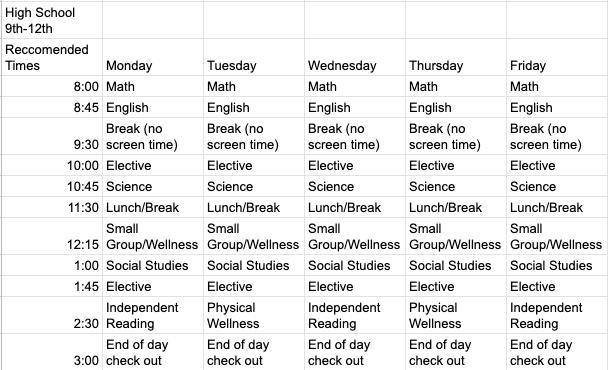 High School Sample JADA Schedule