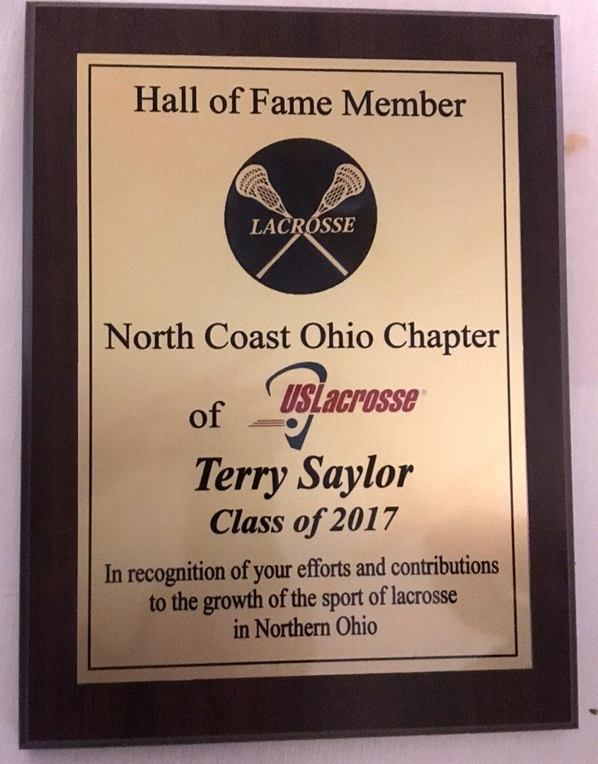 Coach Terry Saylor Hall of Fame Plaque