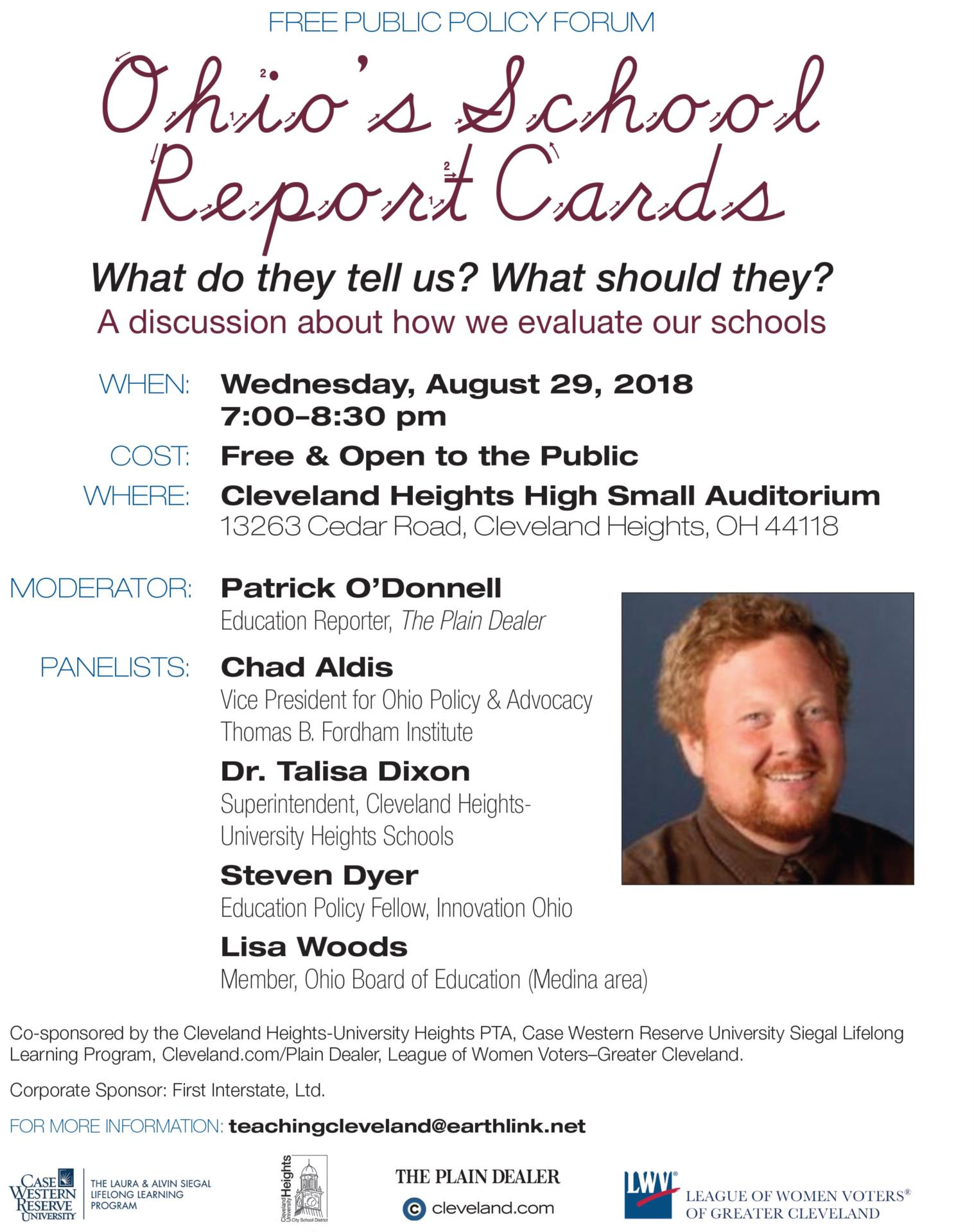Flyer for Ohio's School Report Cards Public Forum