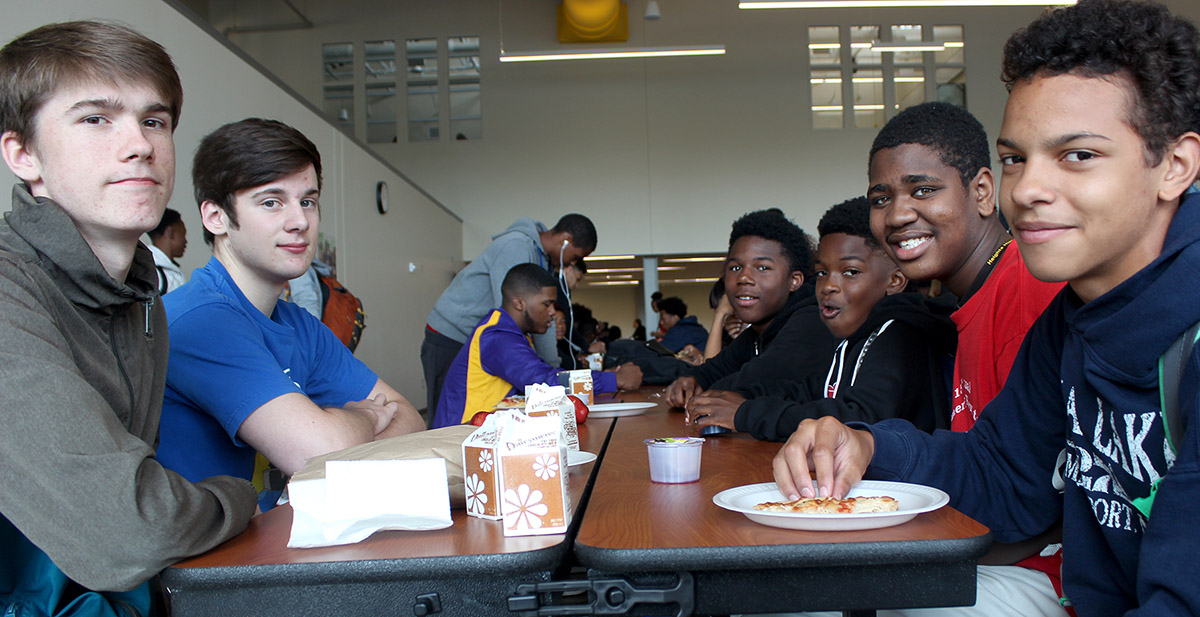 Boys in Heights High cafeteria