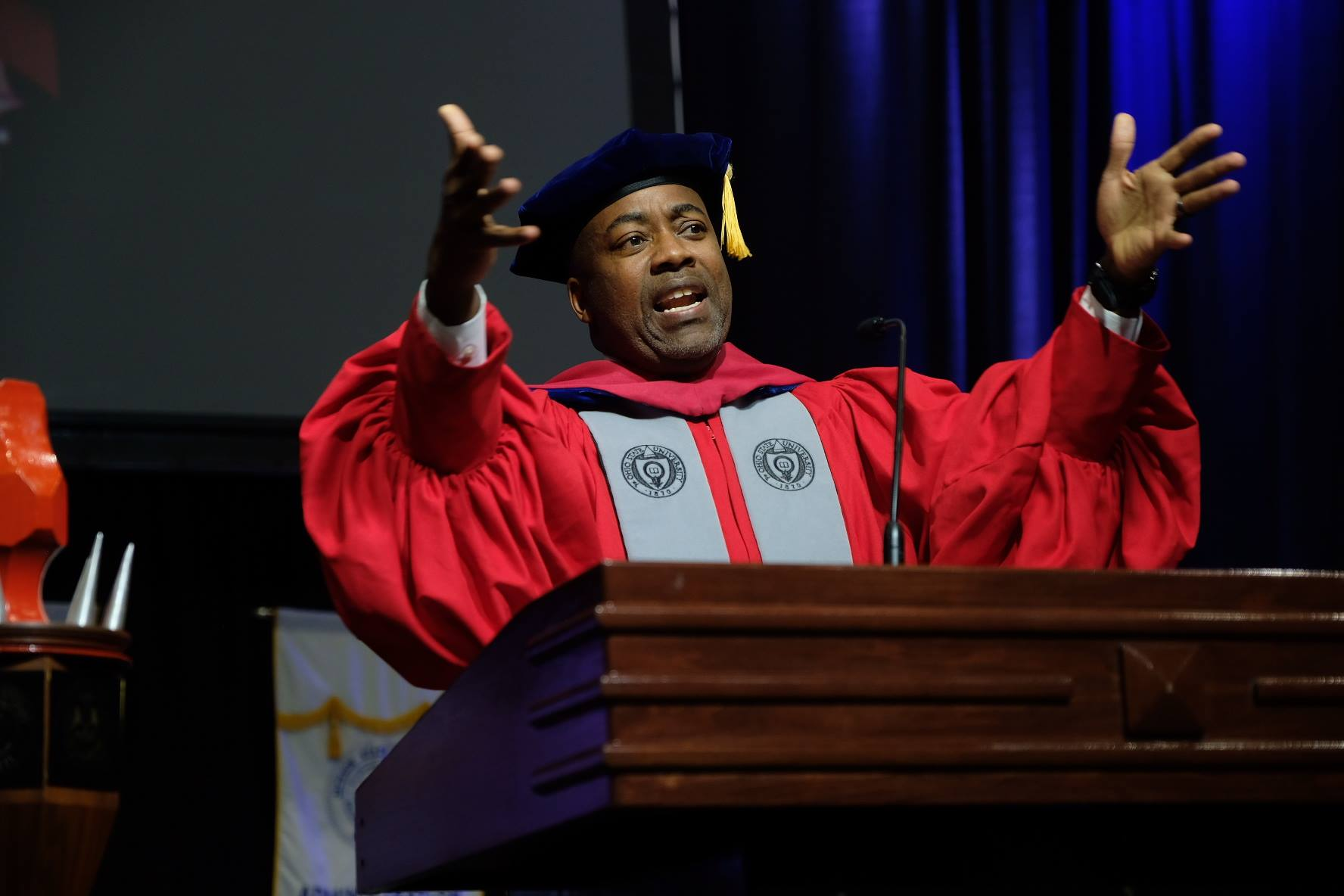 Dr. Leonard N. Moore at the Jackson State Commencement