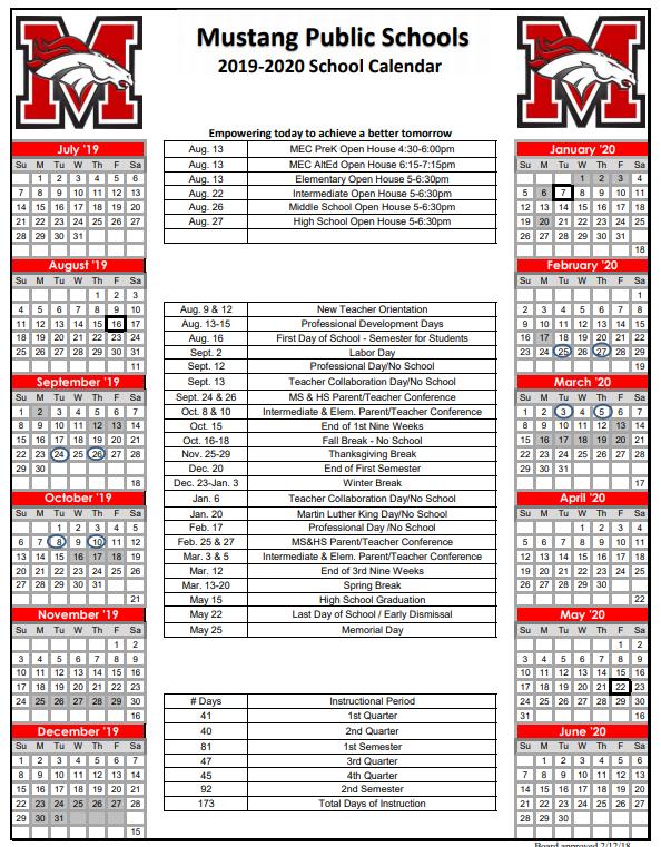 Mustang Public Schools District Calendar