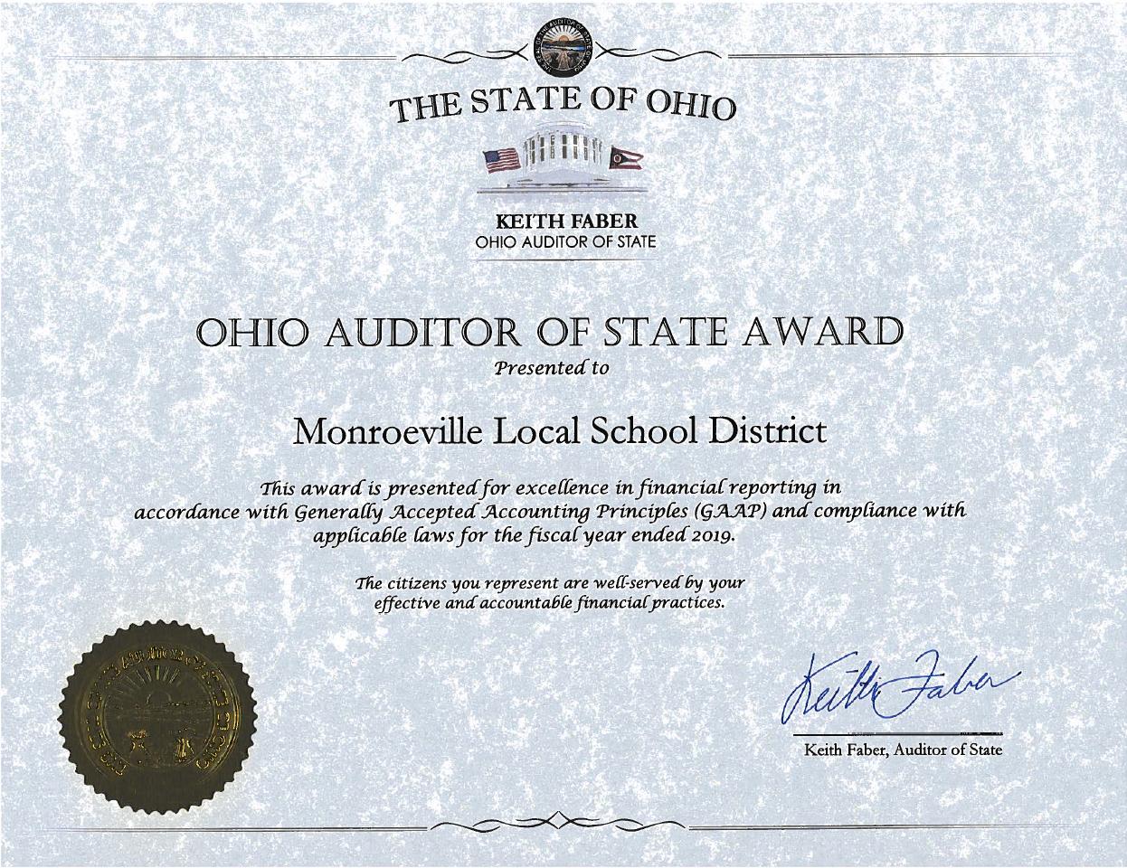 ohio auditor of state award