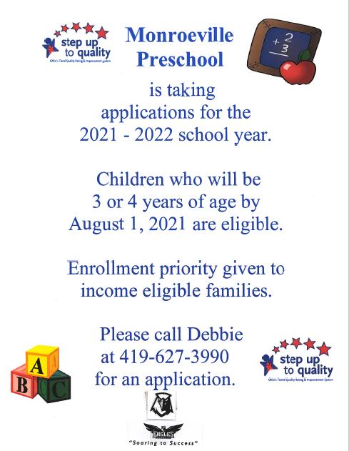 Preschool Registration Info. Call Debbie at 4196273990 for more info.