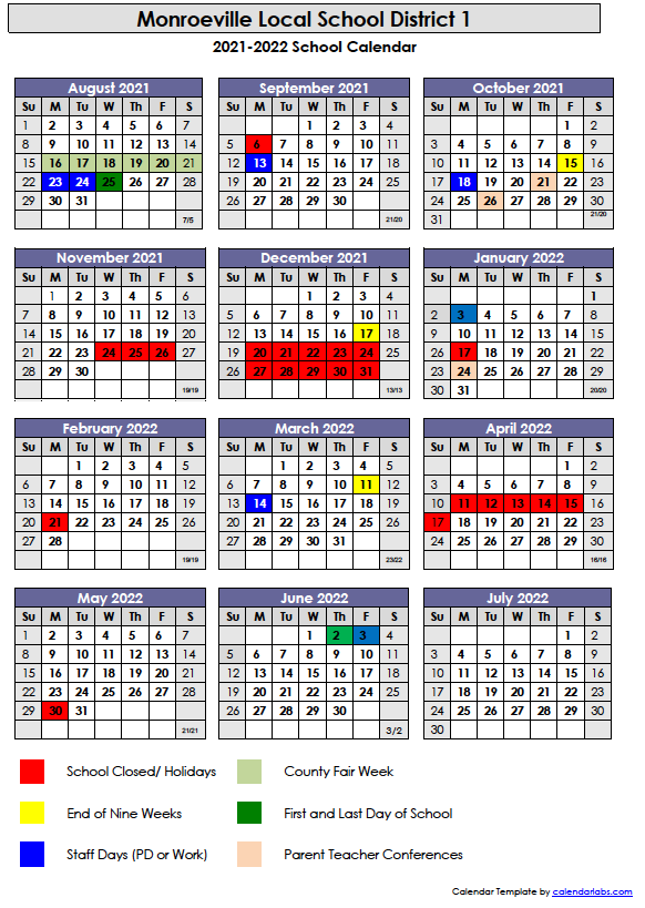 2021 2022 school calendar