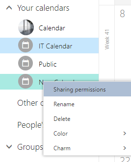 Right-Click on newly created calendar then click Sharing Permissions