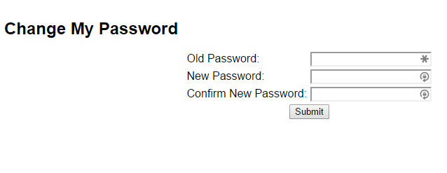Old password, new password, confirm new password