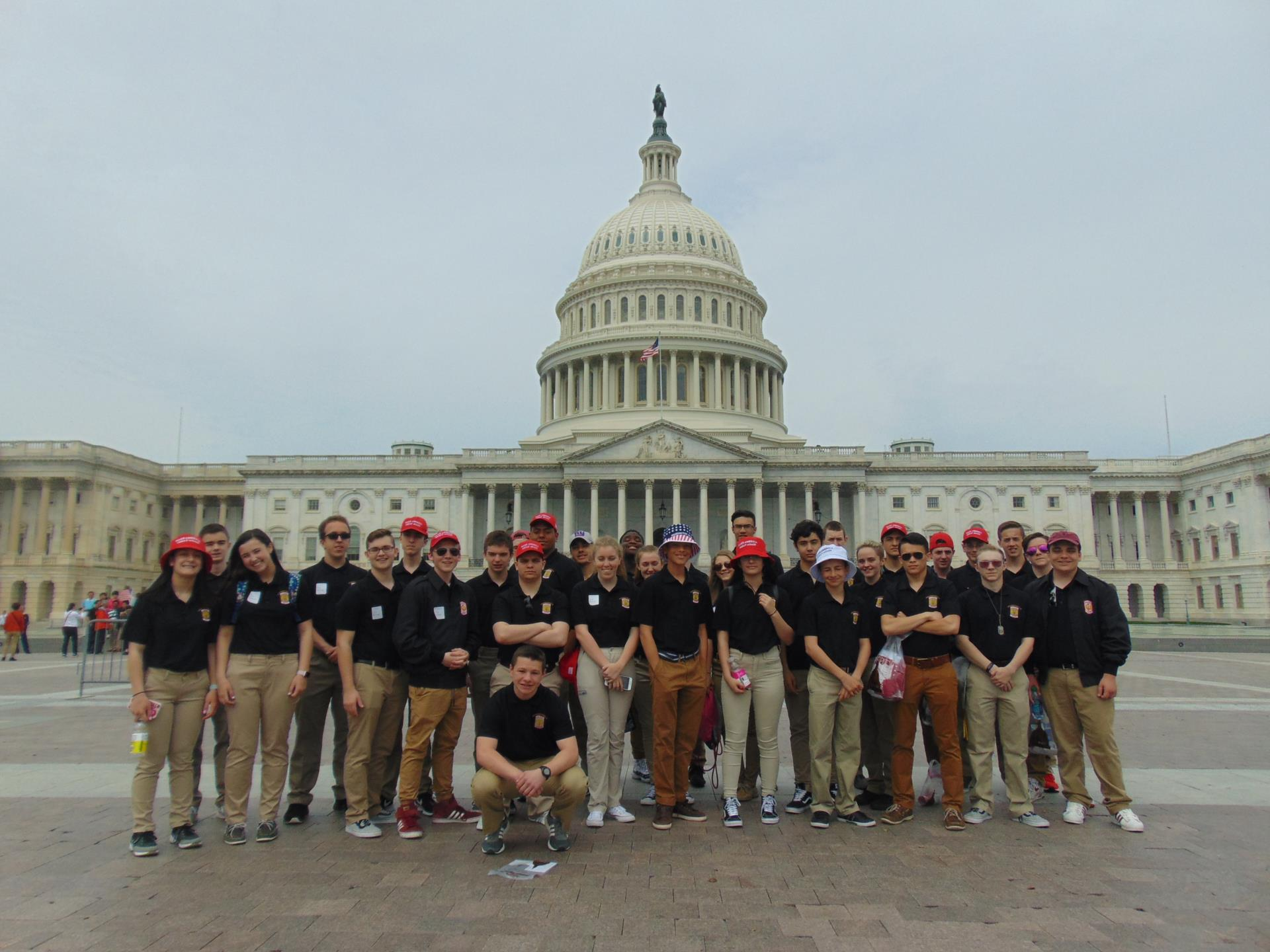 Picture of JROTC cadets with the capital building in background