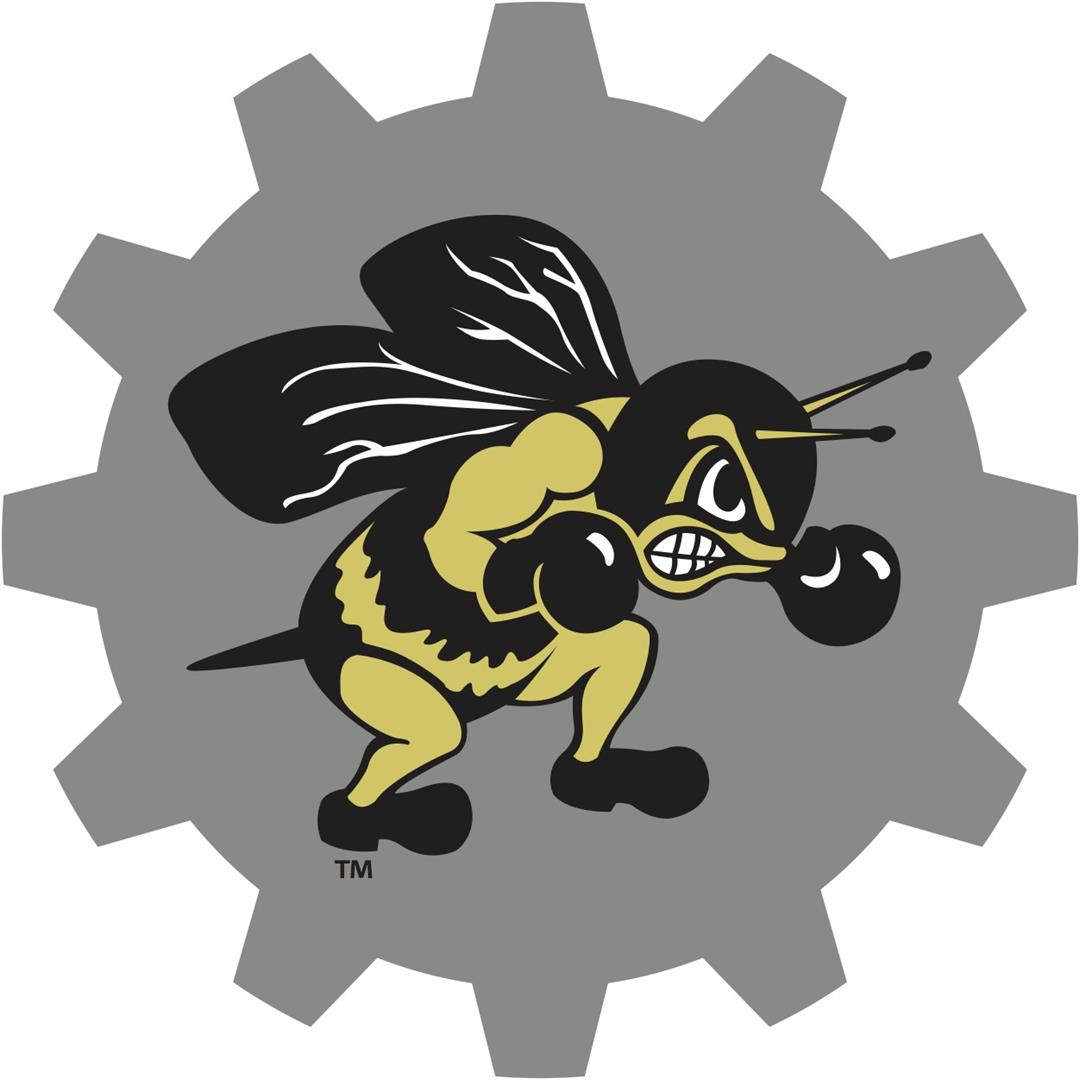 Buzz Yellow Jacket Mascot on Cog Wheel
