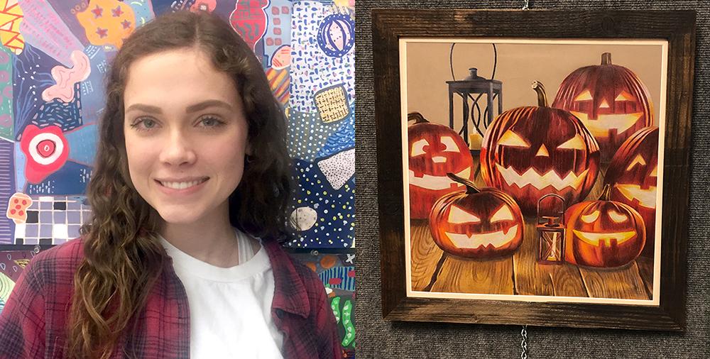 Jenna Hertzfeld and her drawing of jack-o-lanterns