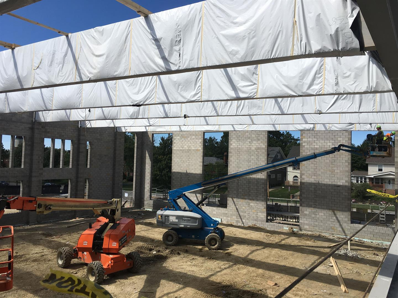 Natatorium roof timbers