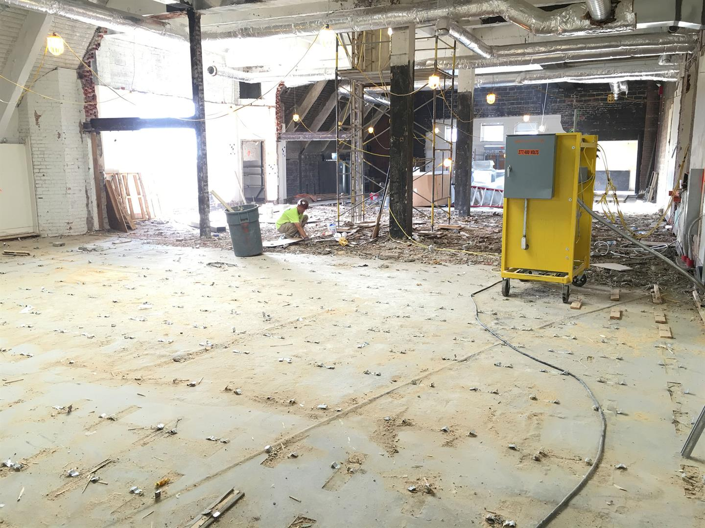 Demo of Existing Wood Flooring on 4th Floor Vocal Level