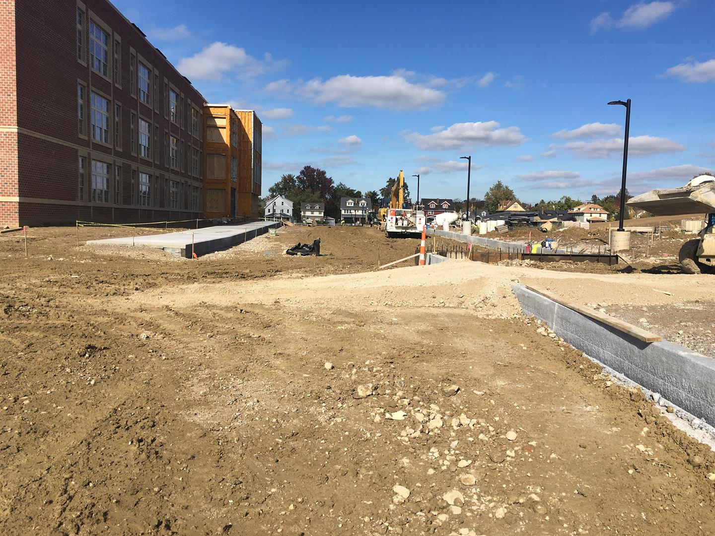 Sidewalks and curbs at East drive