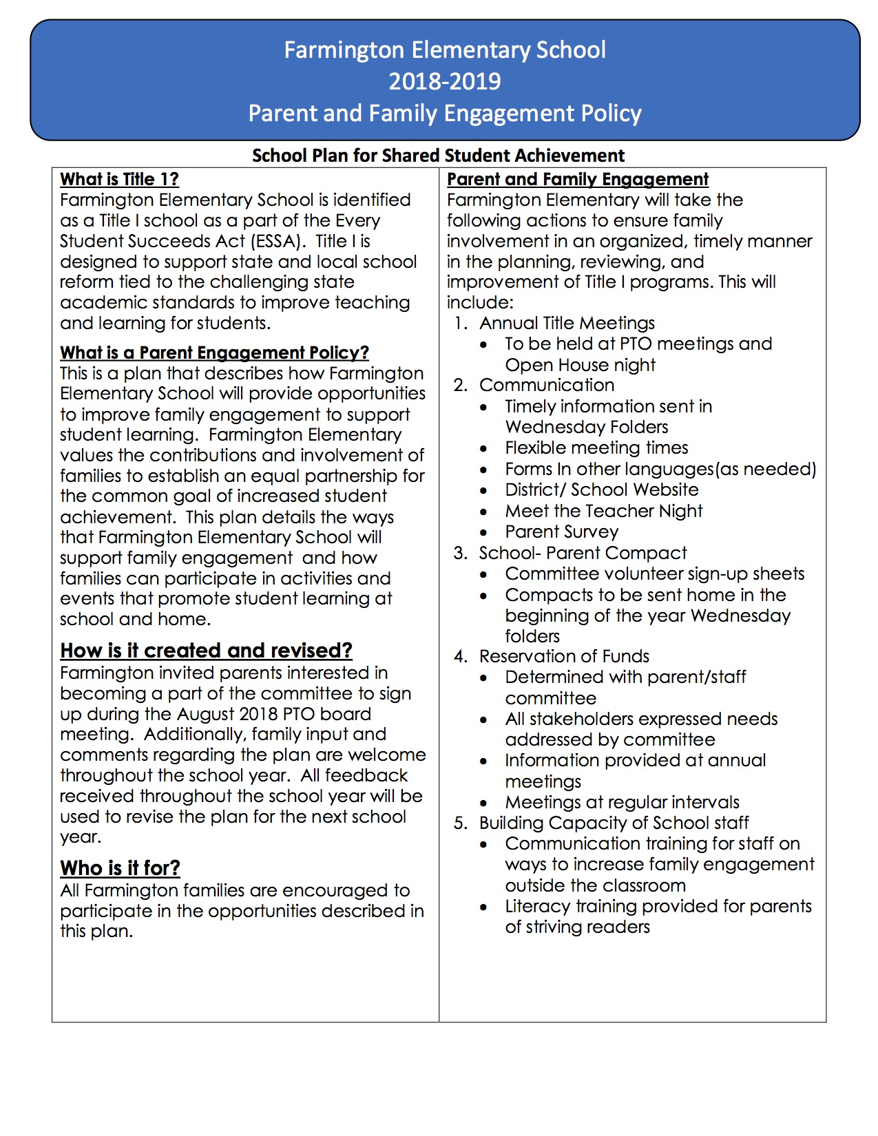 Image of FES Parent Engagement Policy