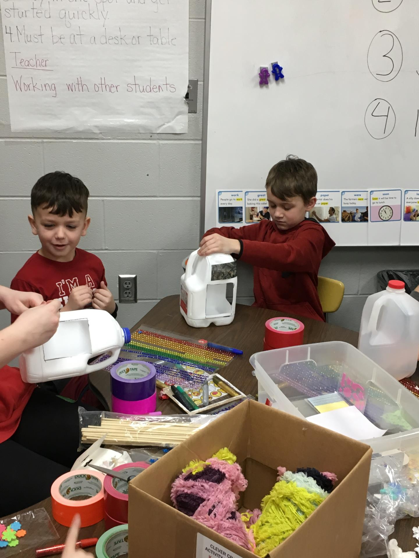 HS Students help with 1st Grade Bird Feeders