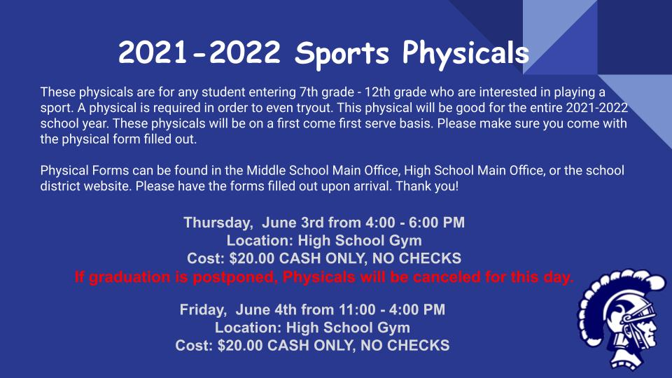Sports Physical Announcement