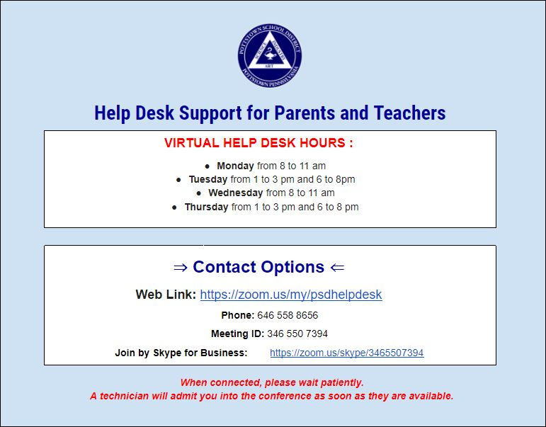 Help Desk Support for Parents and Teachers