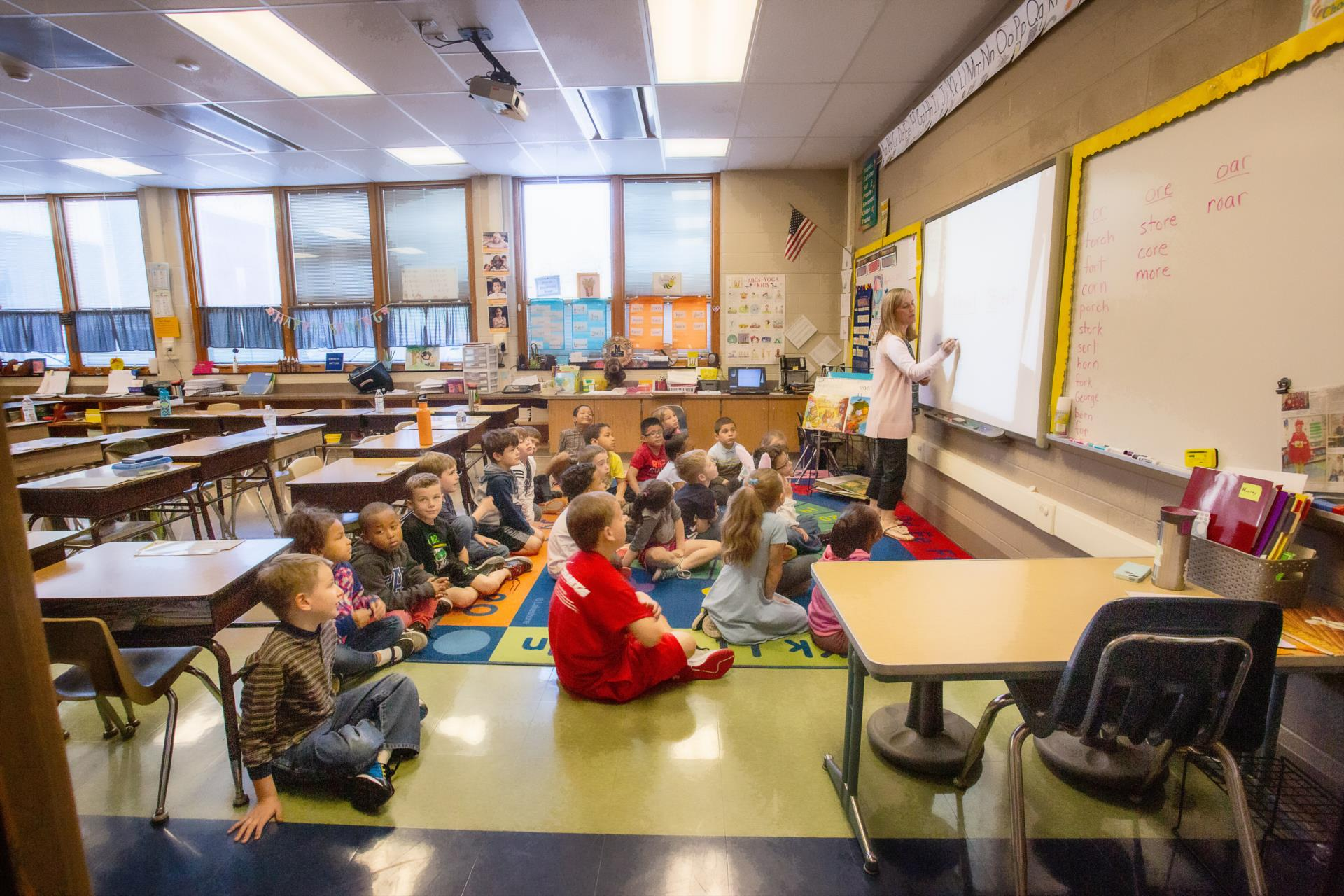 Classroom at Lincoln Elementary School with students and teacher