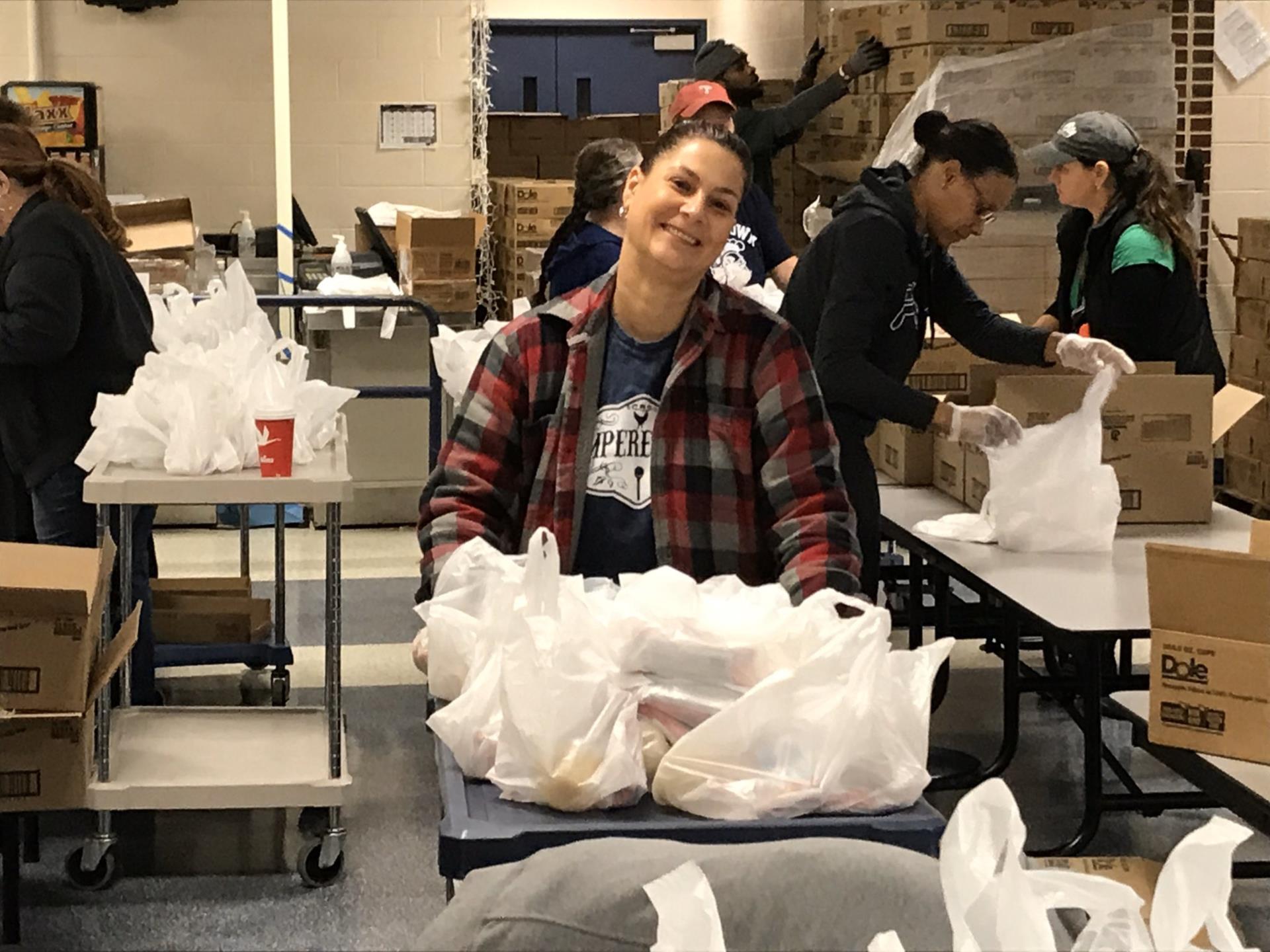 Tara helping to distribute