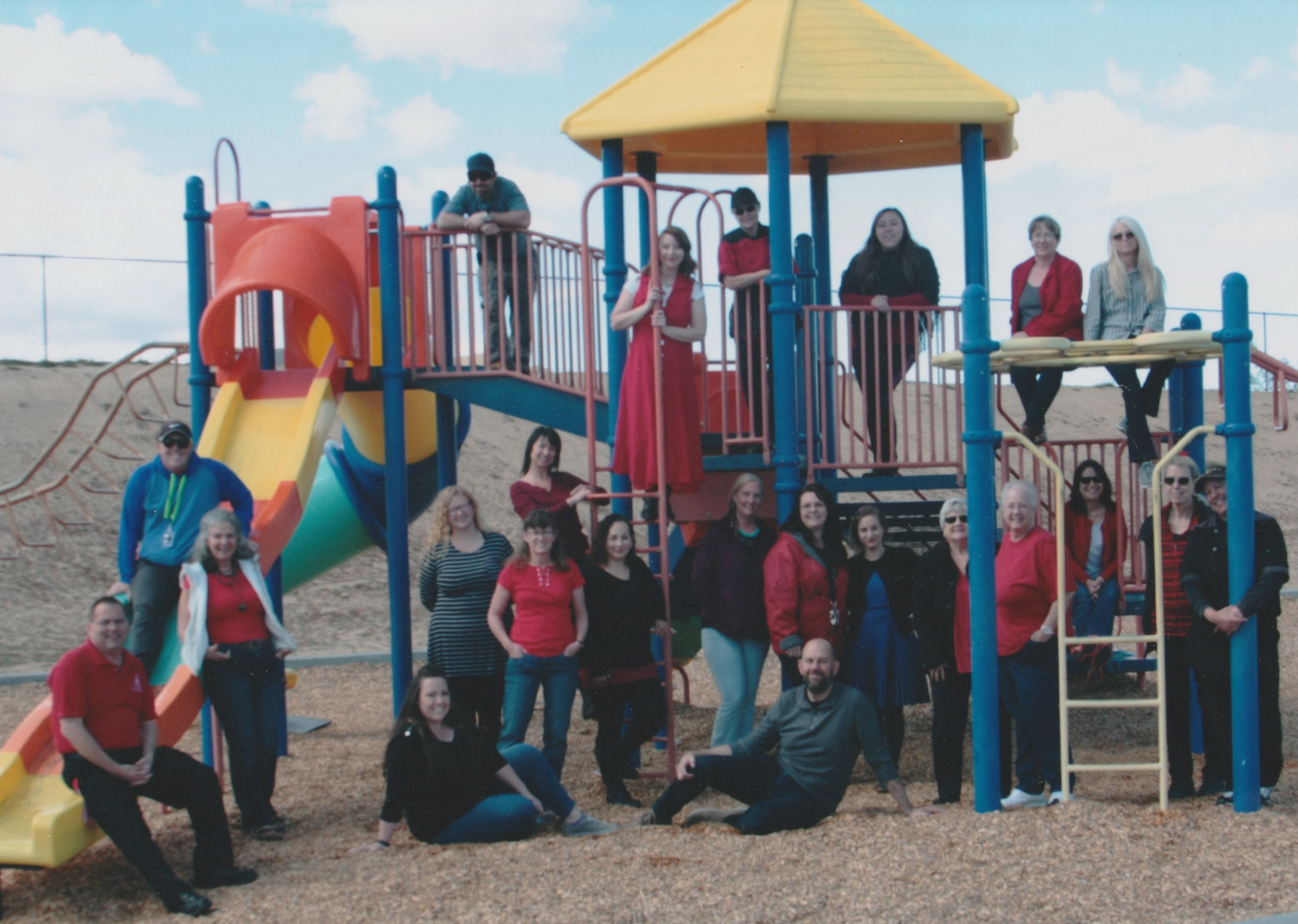 Landers Elementary School Staff at LES playground
