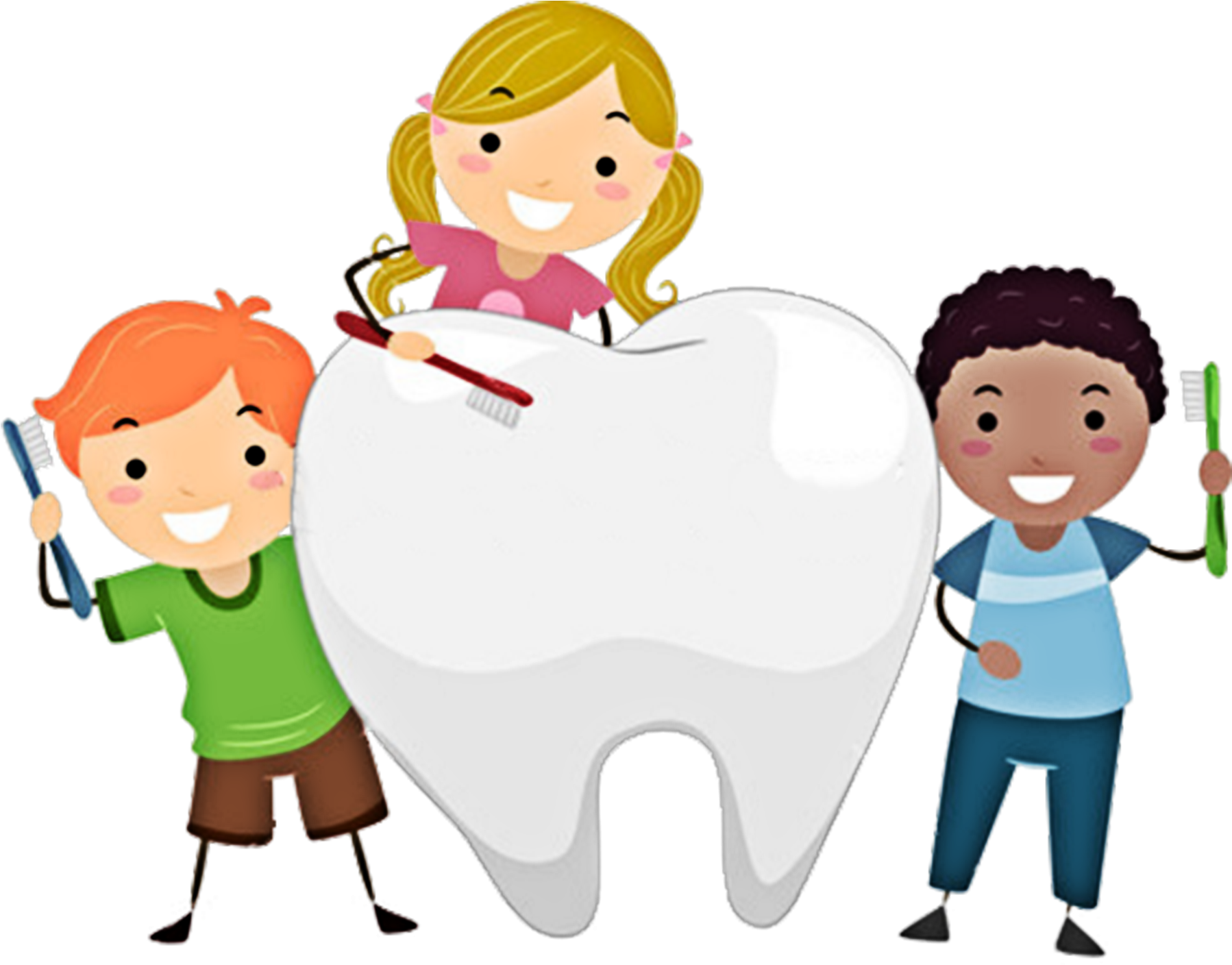 Clipart of children with toothbrushes and a large tooth- click for fillable enrollment form