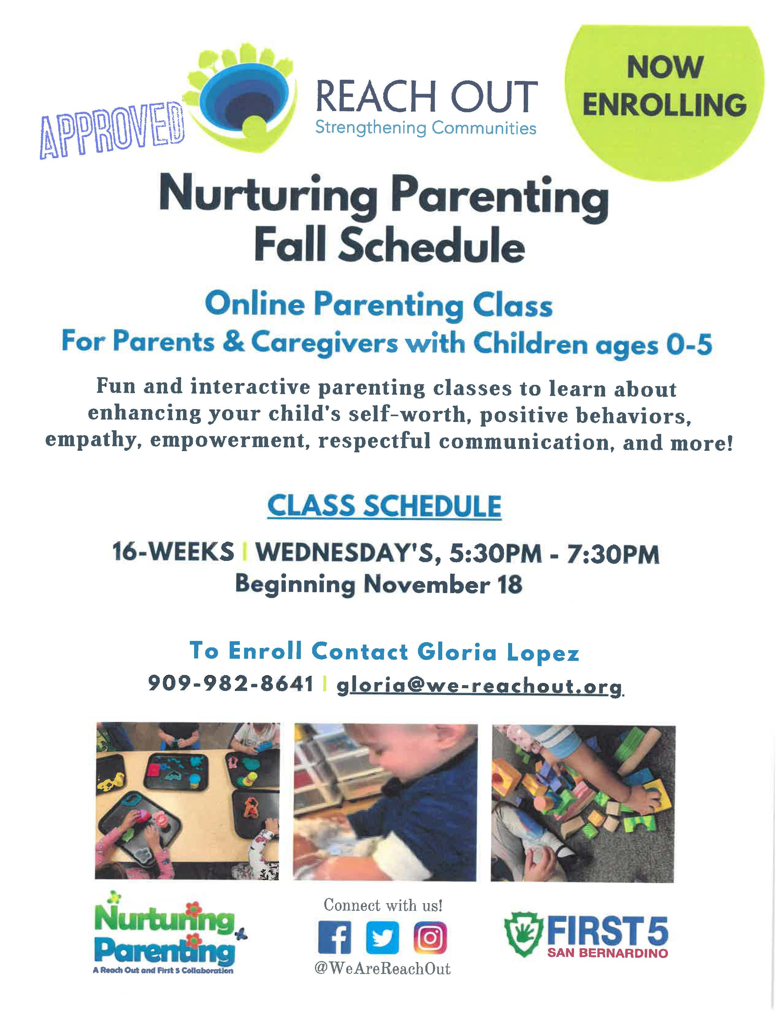 Nurturing Parenting Fall Schedule- click for .pdf