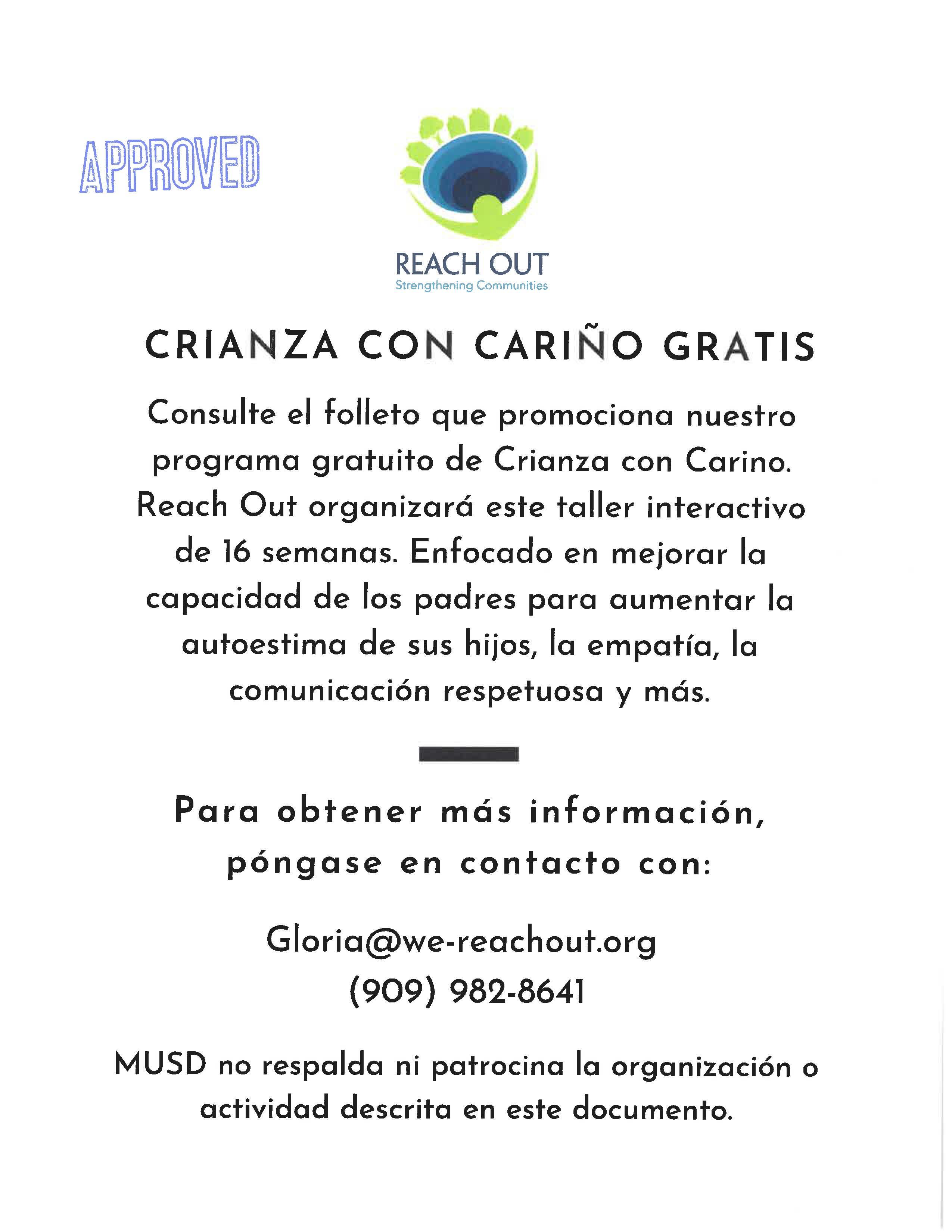 Free Nurturing Parenting Workshop (Crianza con cariño gratis) pg. 2, Español click for .pdf