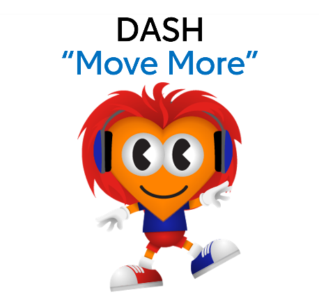 "Kids Heart Challenge character 'Dash' ""Move More"" Link to heart.org/kidsheartchallenge"