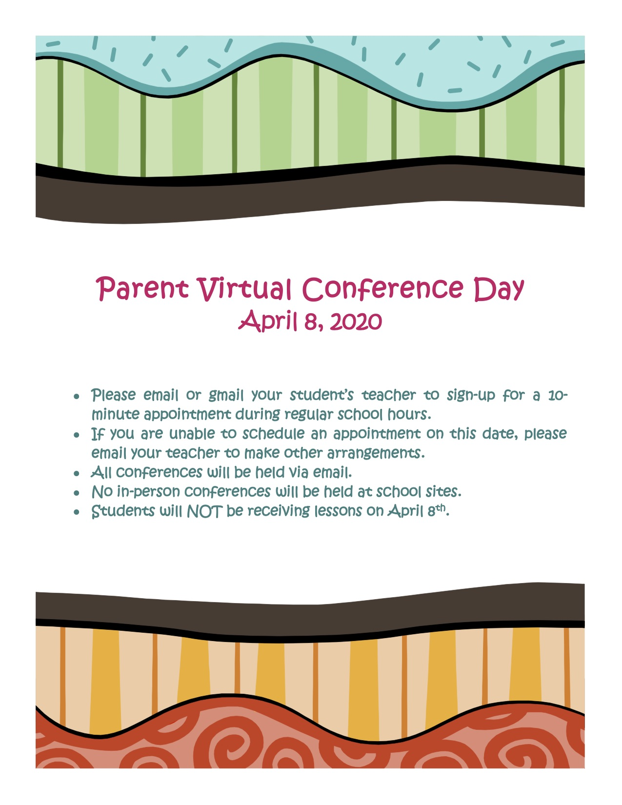 Parent Virtual Conference Day flyer