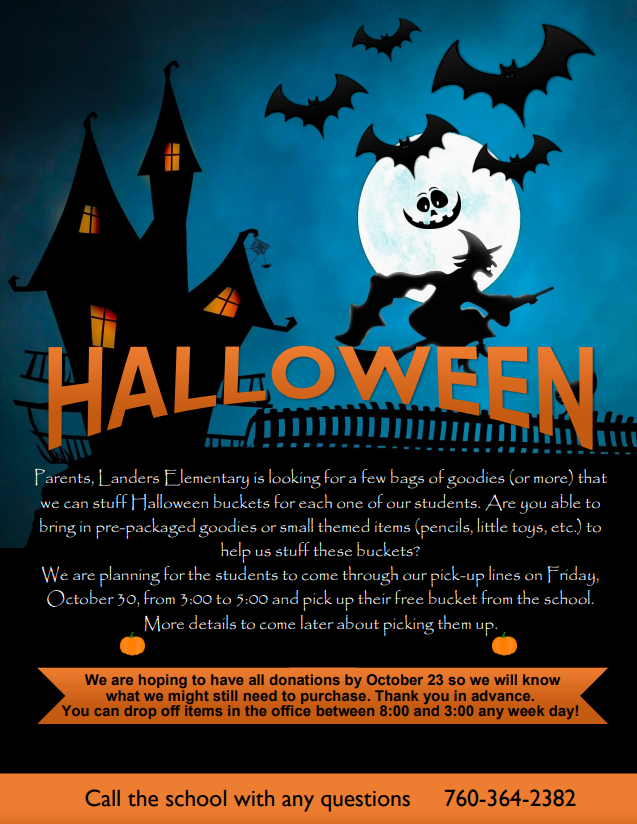 Halloween letter to parents: Looking for bags of goodies to put in Halloween buckets for students- click for link to .pdf