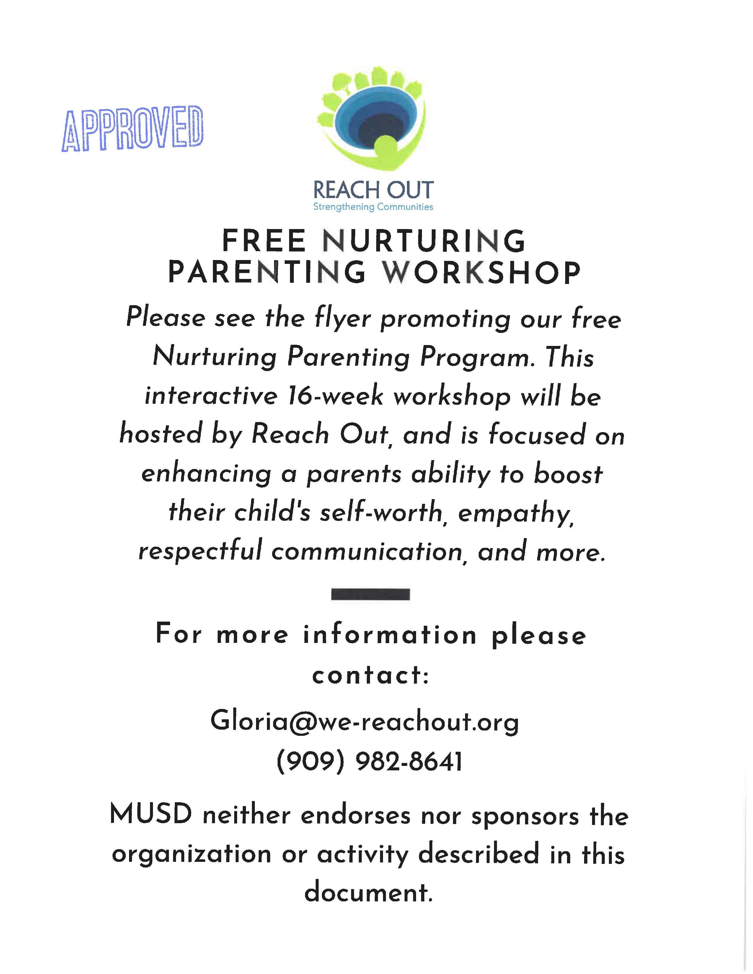 Free Nurturing Parenting Workshop pg. 2, click for .pdf
