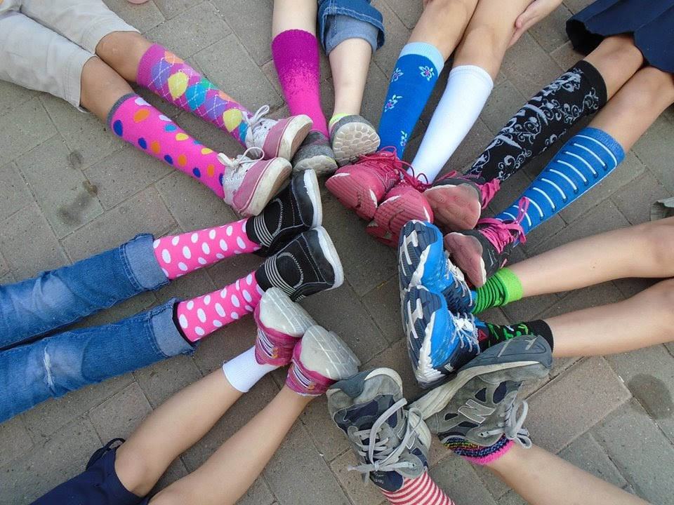 Children's feet with colorful socks