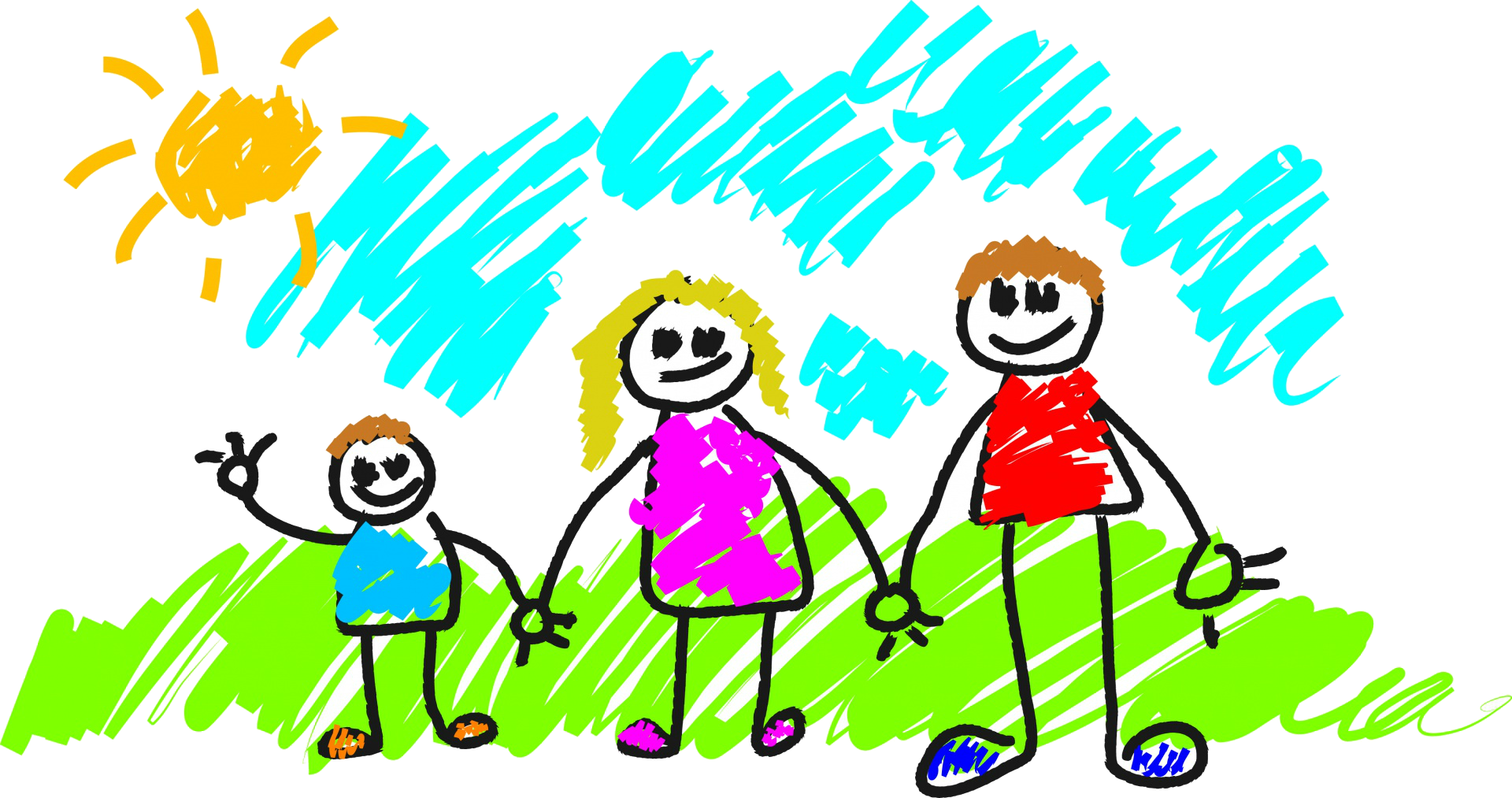 Clipart of a family of three