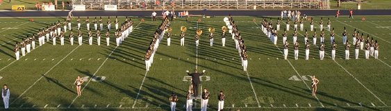 "Band forming ""PHS"" on field"