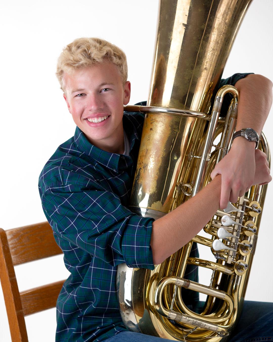 Burdick with trumpet